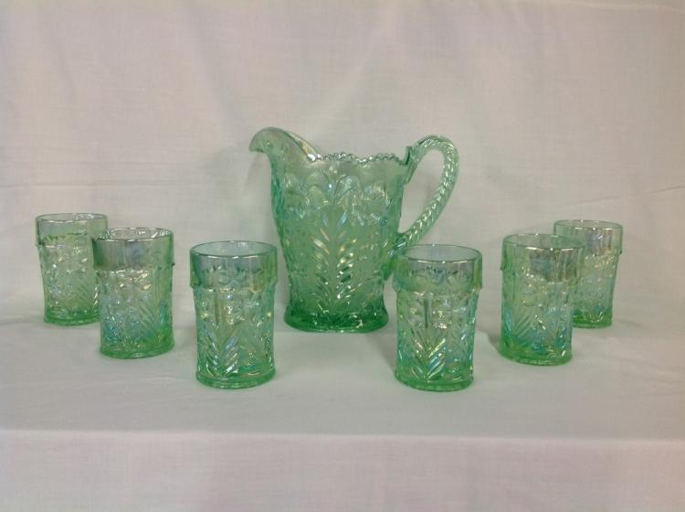 Green Dogwood Iridescent Water Pitcher with 6 Glasses