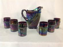 Westmoreland Purple Carnival Glass Water Pitcher Set with 6 Glasses