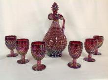 Fenton Red Hobnail Pitcher with Stopper and 6 Goblets