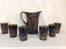 Imperial Glass Iridized Carnival with Daisy Pattern Water Set with 6 Glasses