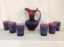 Fenton Cranberry Hobnail Water Set with 6 Glasses