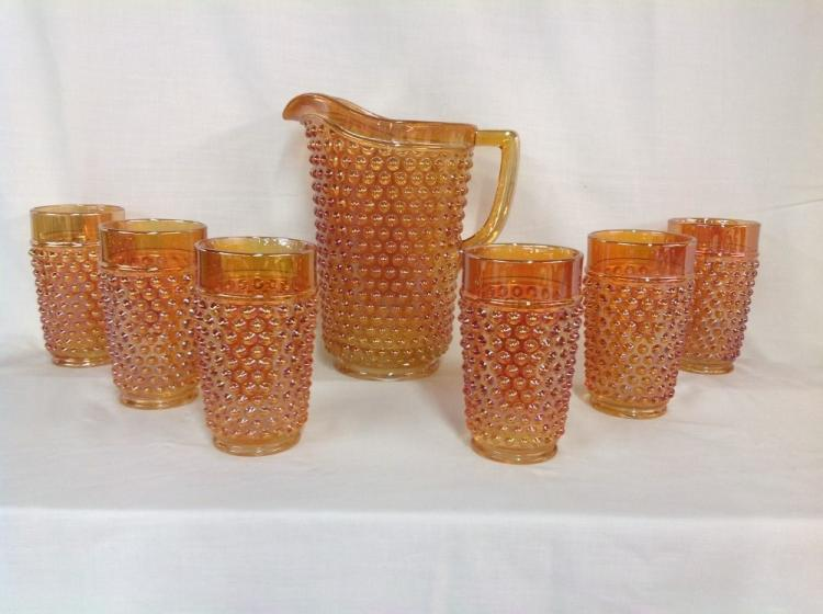 Imperial Glass Hobnail Amber Water Pitcher Set with 6 Glasses