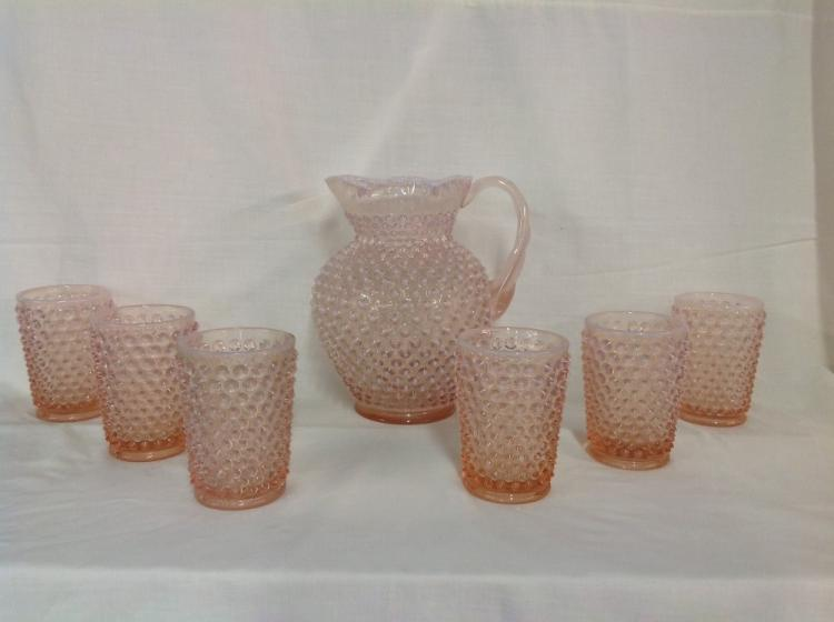 Fenton Pink Honail Water Pitcher Set with 6 Glasses