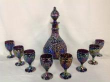 (Unmarked) Grape and Cable Wine Decanter Set