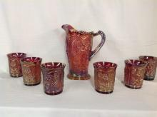 Imperial Glass Red Sunflower Iridescent Water Set