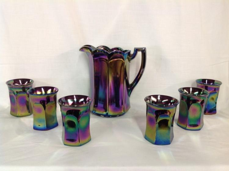 Westmoreland Purple Iridescent with Solid Panels Water Set