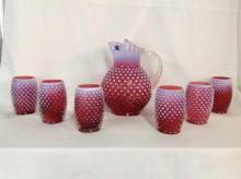 Fenton Pink Hobnail Water Set