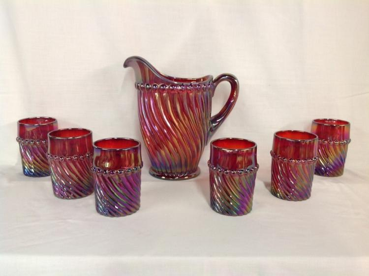 Westmoreland Red Swirl Water Set