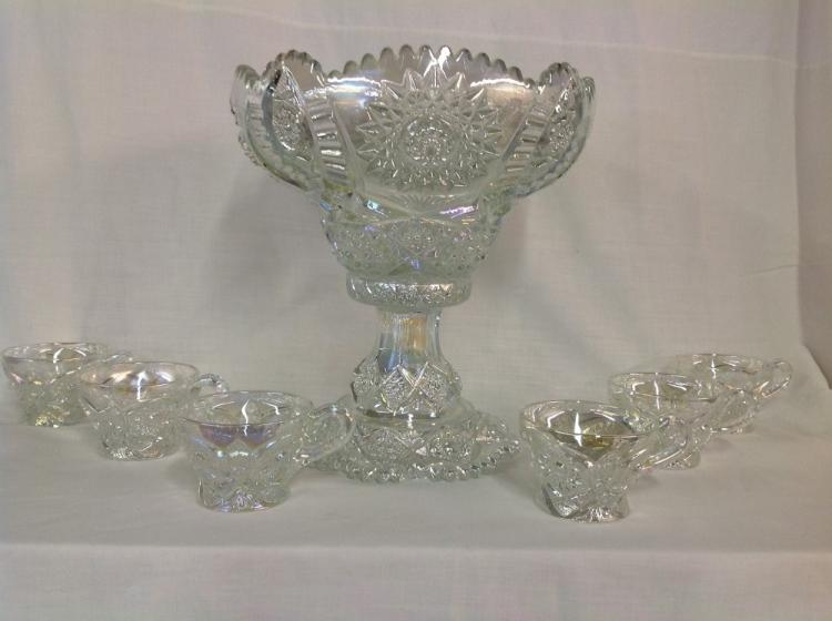 (Unmarked) White Carnival Punch Bowl Set