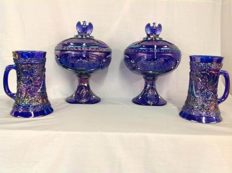 Independence Blue Fenton Bicentennial Collection 2 Steins, 2 Compotes