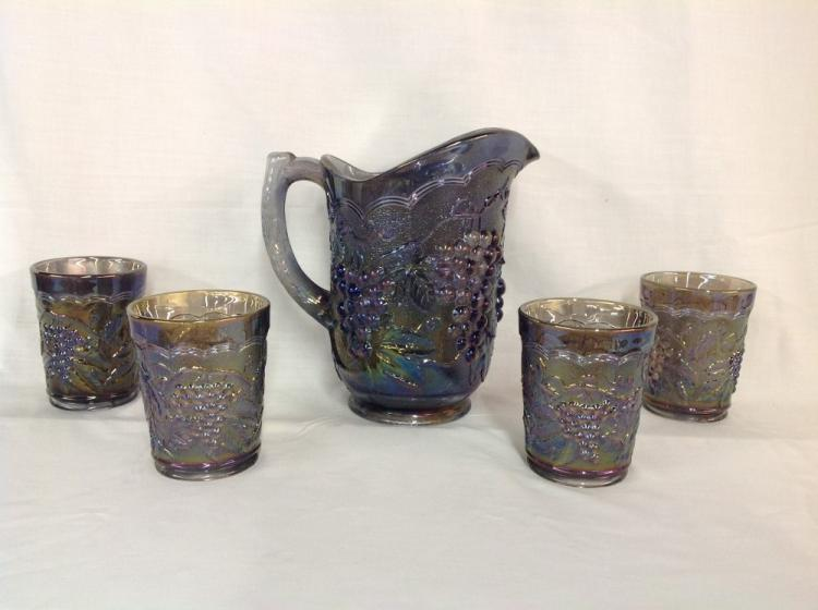 Imperial Glass Charcoal Grape and Cable Water Set