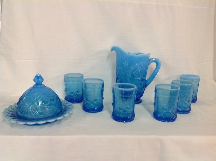 L.G. Wright Blue Cherry Water Set and Butter Mold