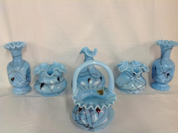 Blue Fenton Hanging Heart Basket and Vases