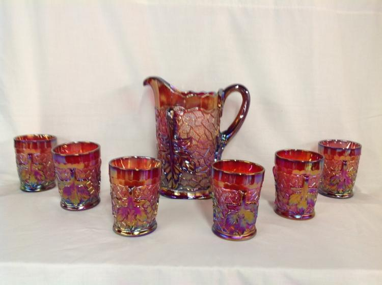 L.G. Wright Red Maple Leaf Water Set with Glasses