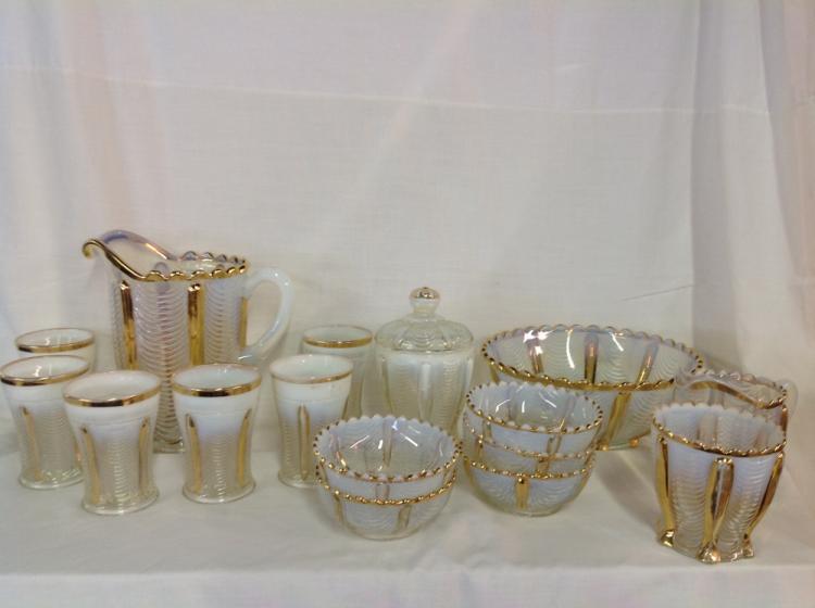 Northwood Gold Trim Opalescent Water Set and Bowl Set-16 Pcs Total