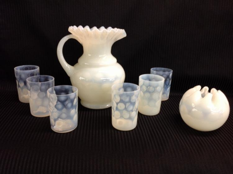 White Thumbprint Water Set with Matching Rose Bowl
