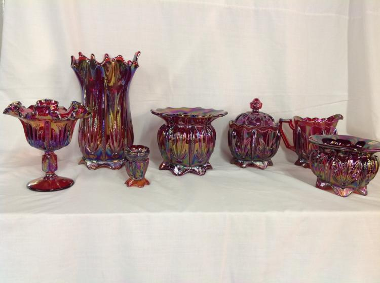 Fenton Red Cactus Pattern Water Set