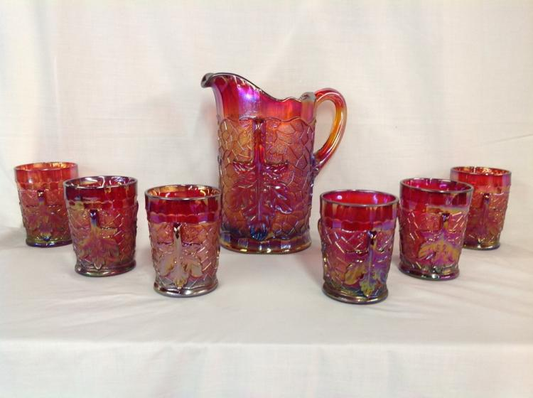 L.G. Wright Red Maple Leaf Water Set
