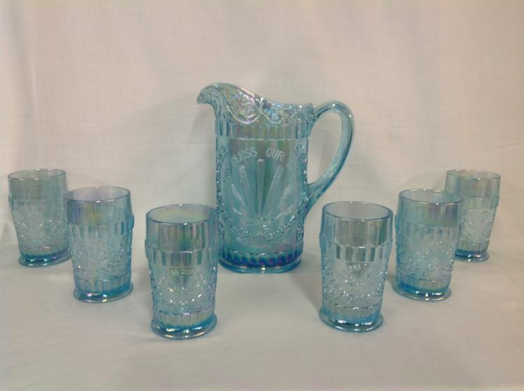 L.G. Wright God Bless Our Home Water Set Iridescent Blue