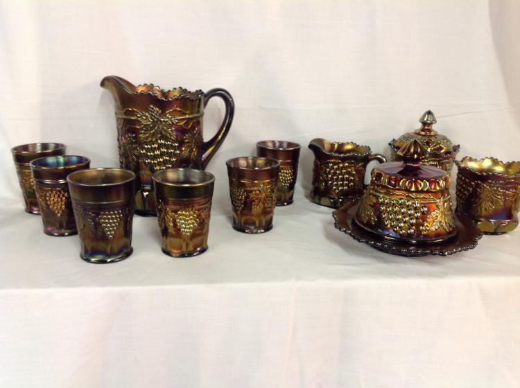 Northwood Grape and Cable Water Set and Side Pieces