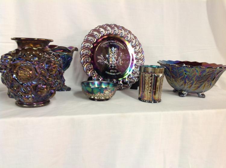 Assorted Carnival Glass - 6 Pcs