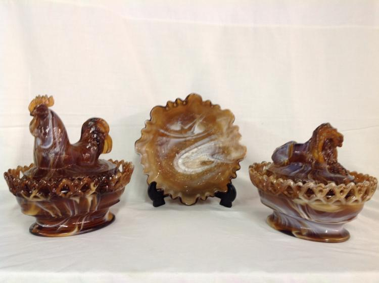 Imperial Glass Slag Glass Covered Candy Dishes and Bowl
