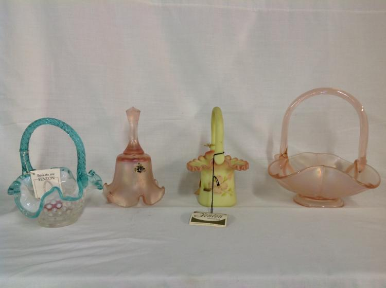Assorted Fenton Baskets and Bell