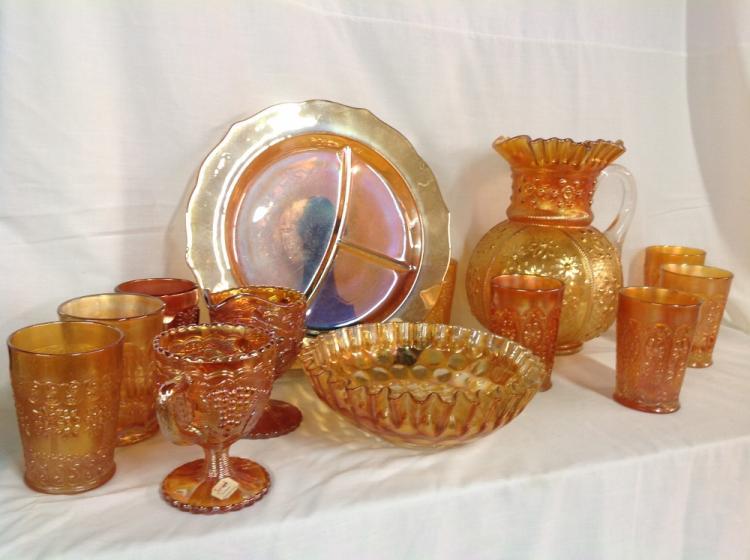 Assorted Amber Glassware - 12 Pcs