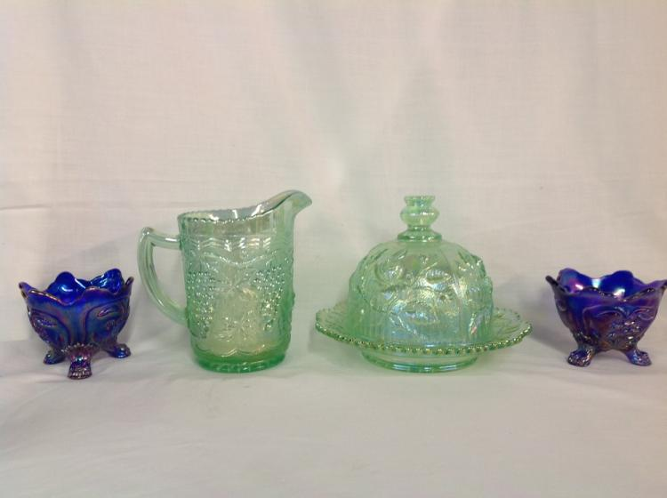 Assorted Imperial Glass Candlesticks, Pitcher, and Butterdish - Lot of 4