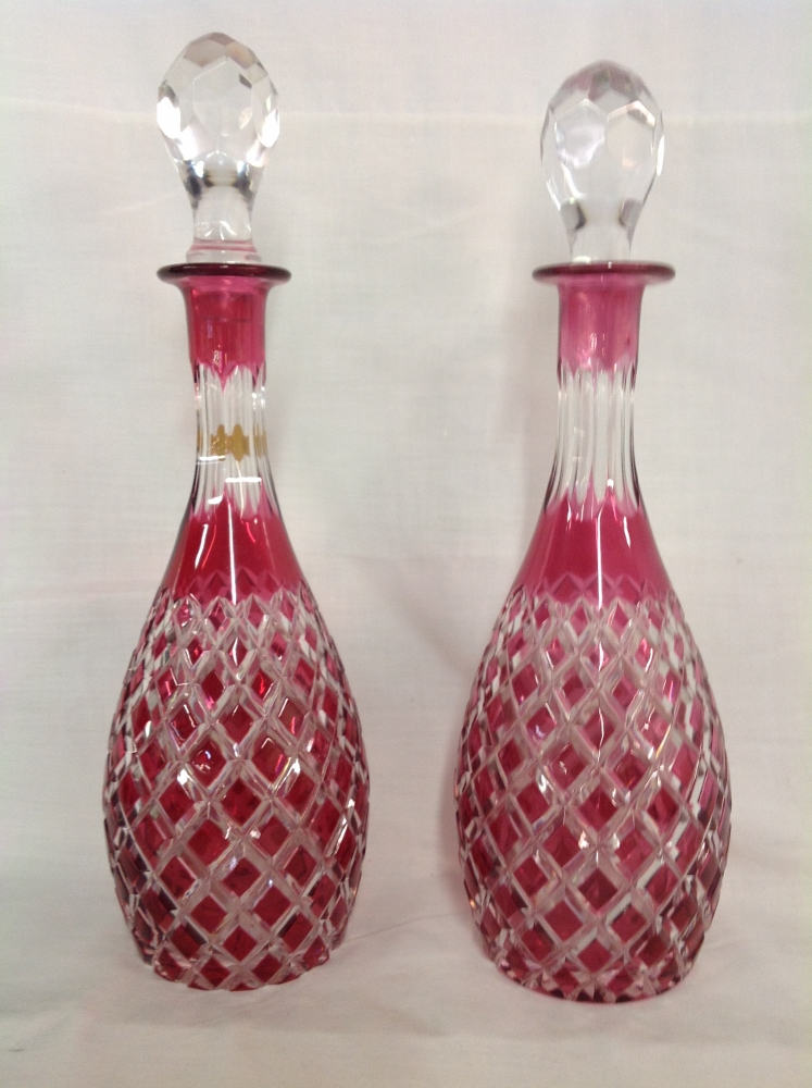 Pair of Cut to Clear  Cranberry Liquor Decanters