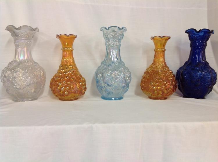 Imperial Glass 5 Iridescent Vases