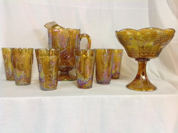 Indiana Glass Amber Pitcher with 6 Glasses and Compote