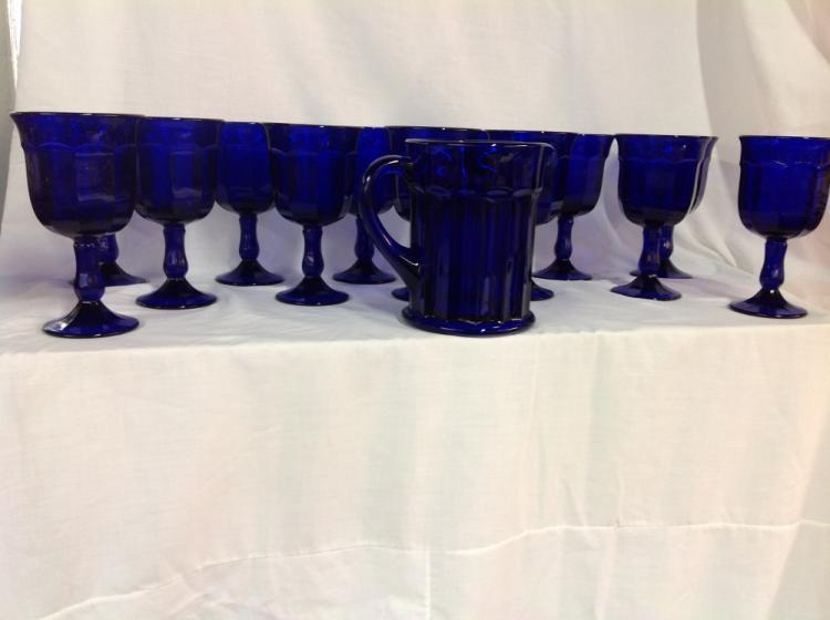 Cobalt Blue Water Pitcher 13 Goblets
