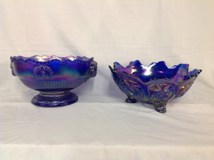 Imperial Glass Rams Head Center Piece Bowl and Footed Bowl