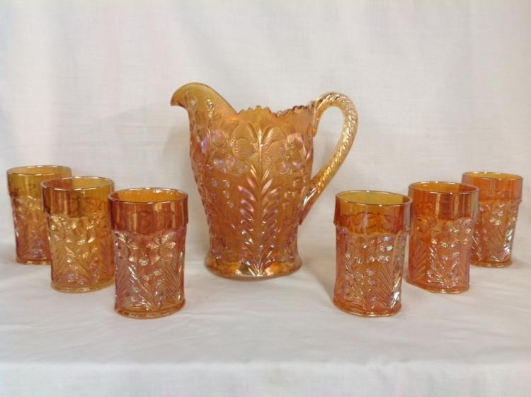 Imperial Glass Gold Iridescent Dogwood Pattern Water Pitcher with 6 Glasses