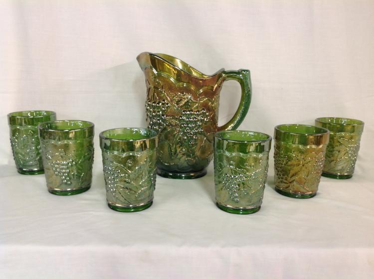 Imperial Glass Iridescent Green Grape and Cable Water Pitcher with 6 Glasses