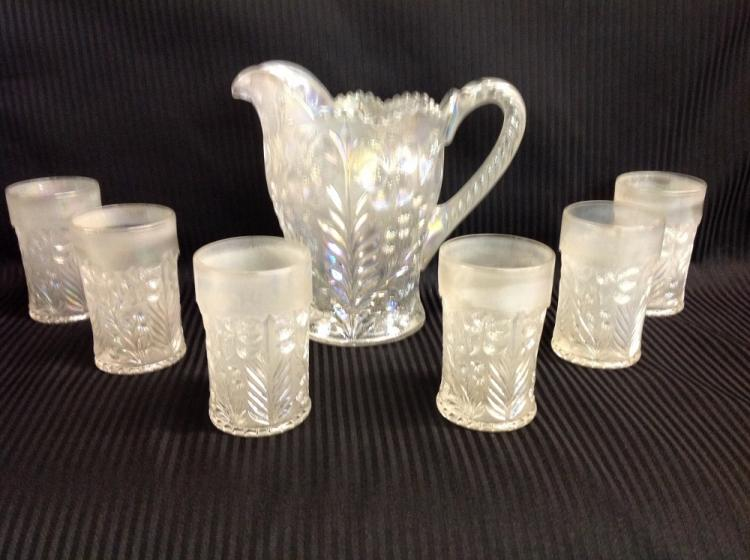 Imperial Glass White Dogwood Pattern Water Pitcher with 6 Glasses