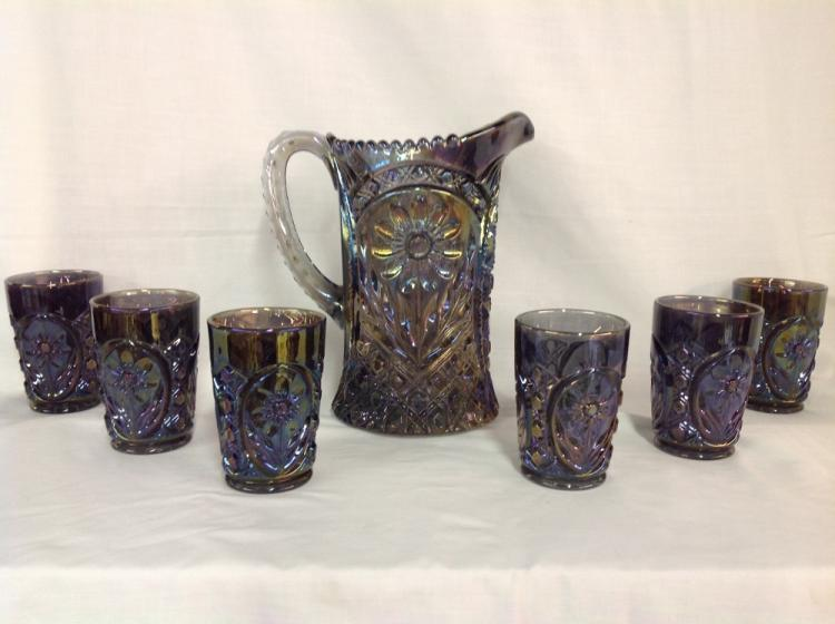 Imperial Glass Iridescent Water Pitcher with 6 Glasses Sunflower Pattern