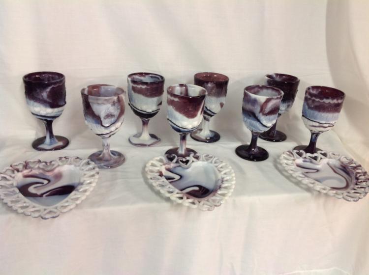 Westmoreland Purple Slag 8 Goblets 3 Purple Slag Wright Heart Shaped Plates