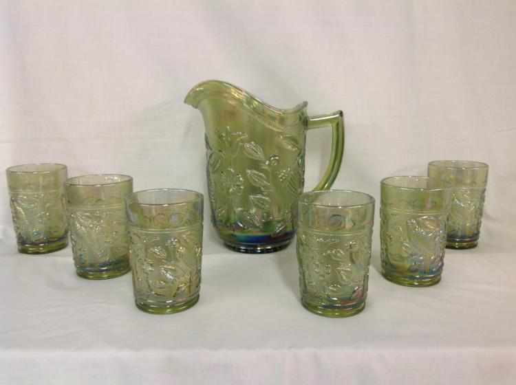 Imperial Glass Iridescent Green Parakeet Pattern Water Pitcher with 6 Glasses