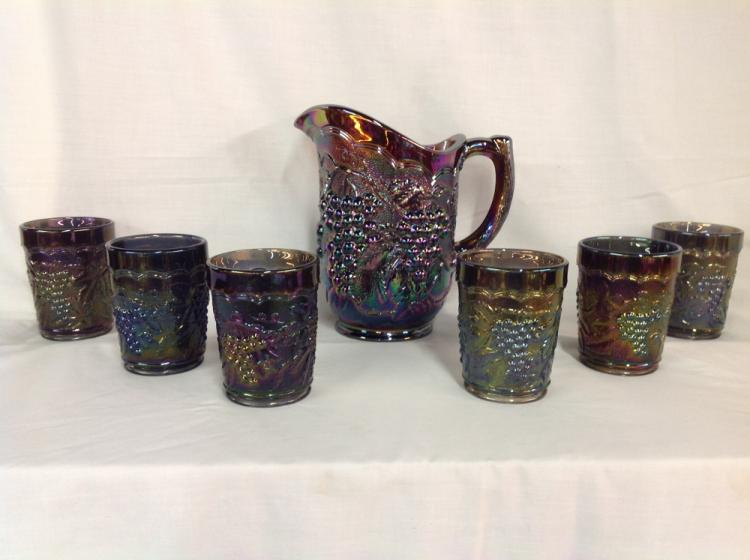 Imperial Glass Iridescent Purple Grape and Cable Water Pitcher with 6 Glasses