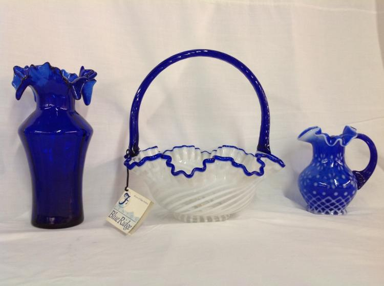 Fenton Blue Ridge Basket, Blue Pitcher, Blue Vase