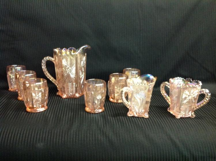Bee Glass Pink Iridescent Water Pitcher with 6 Glasses and Creamer and Sugar