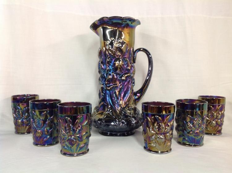 Unmarked Purple Iridescent Pitcher and 6 Glasses