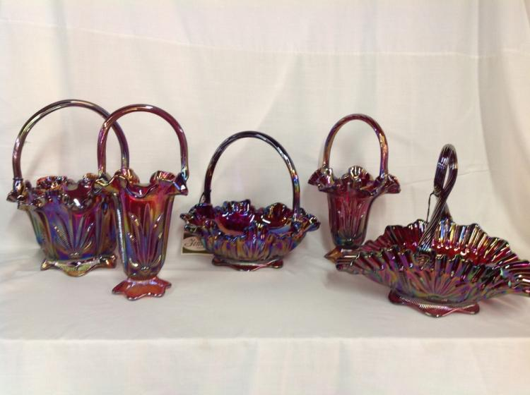 Lot 5 Cactus Pattern Fenton Baskets