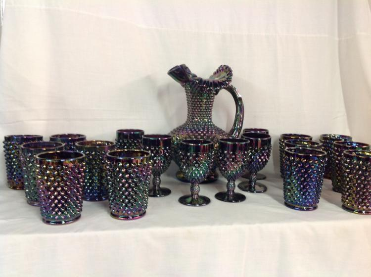 Fenton Carnival Hobnail Water Set with Goblets and Glasses