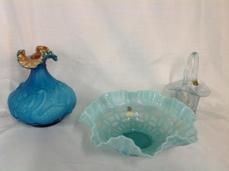 Fenton Bowl Basket and Vase