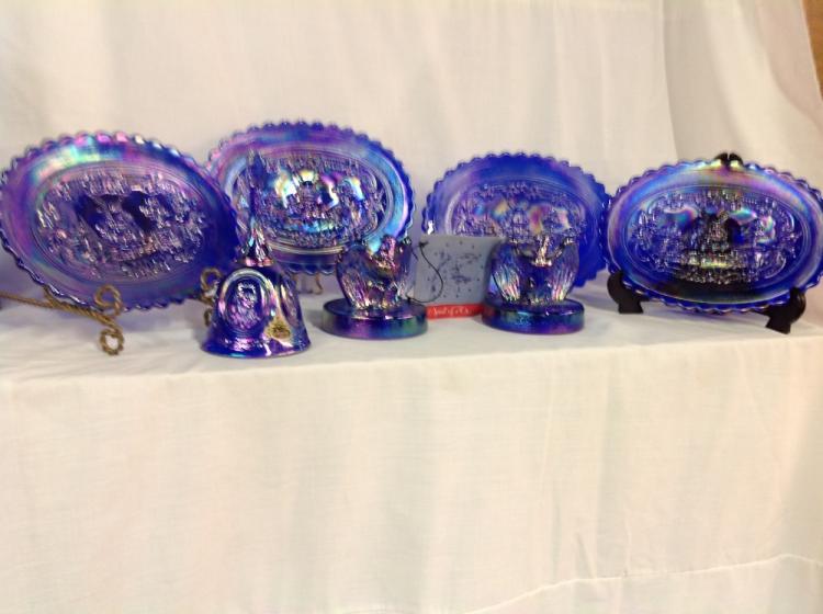 4 Imperial Glass Bicentennial Plates, 1 Fenton Bell, 2 Fenton Eagles