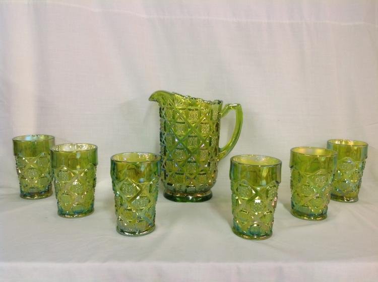 Westmoreland Green Checkerboard Waterset with 6 Glasses