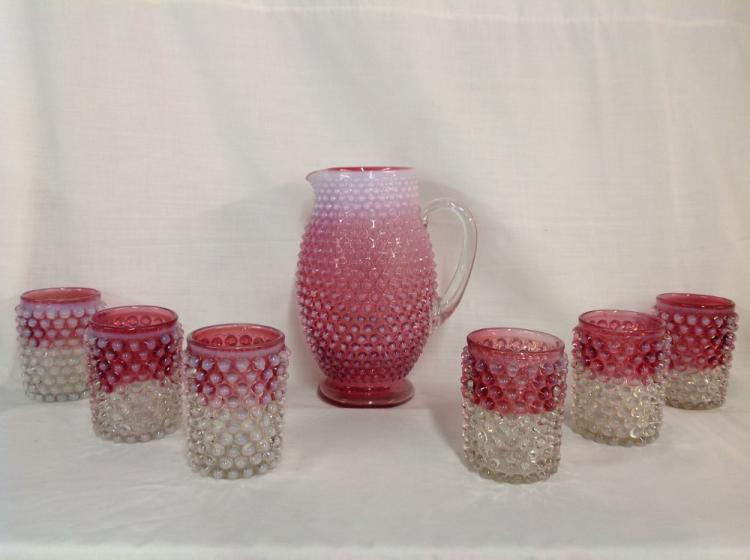 Unmarked Cranberry Hobnail Water Set with 6 Glasses